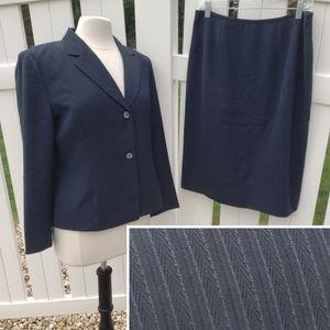 Le Suit Pinstripe Pencil Skirt Suit Set Blazer